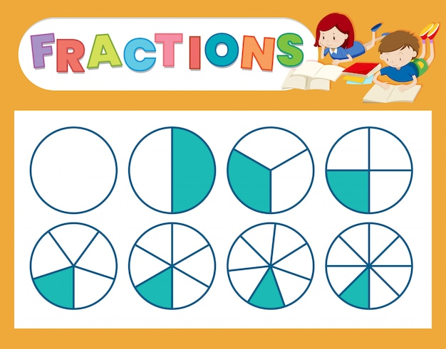 A cute fraction worksheet Free Vector