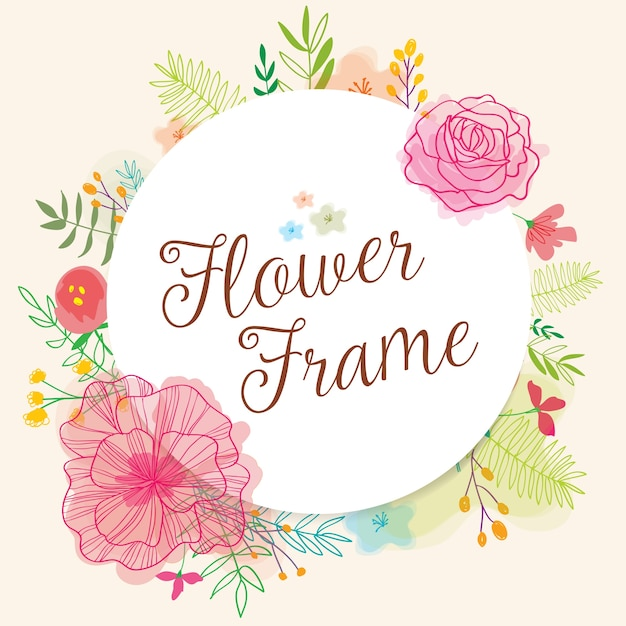 Cute frame with hand drawn flowers and watercolors Free Vector