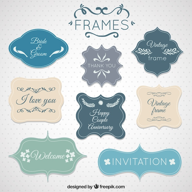 Cute frames in vintage style Vector | Free Download