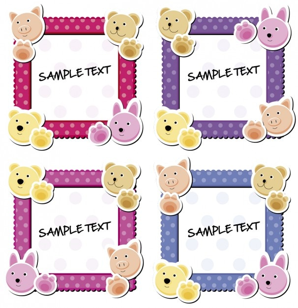 cute frames with animals free vector