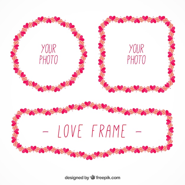 Cute frames with little hearts Free Vector