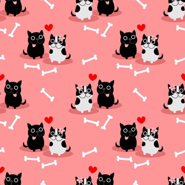 Cute french bulldog in love seamless pattern. Premium Vector