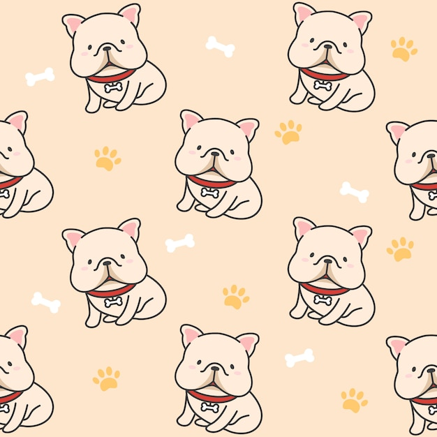 Cute french bulldog seamless pattern background Premium Vector