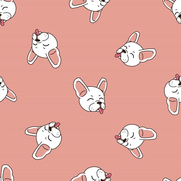 Cute french bulldog seamless pattern background Premium Vector