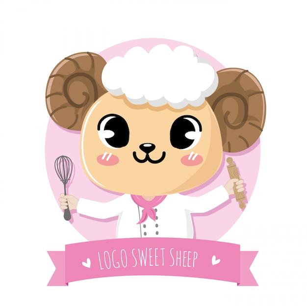 Cute and friendly sheep doing the dessert Premium Vector