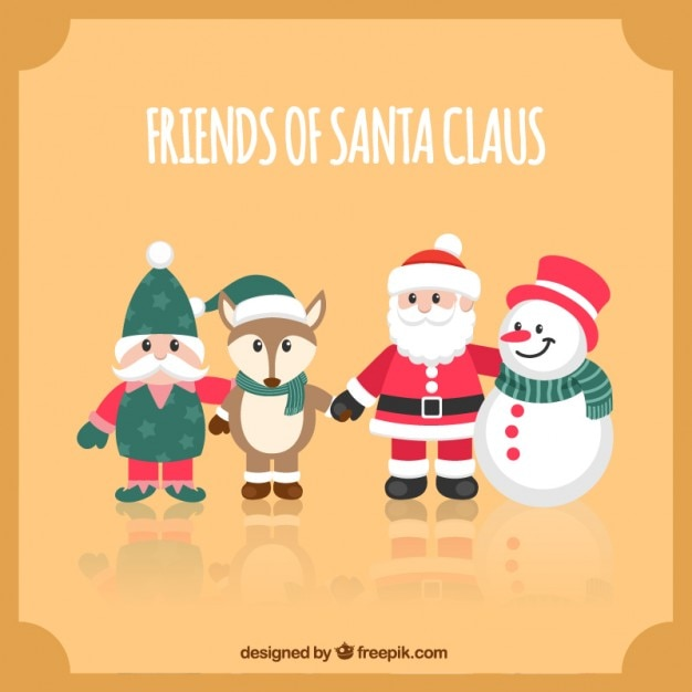 Cute friends of santa claus
