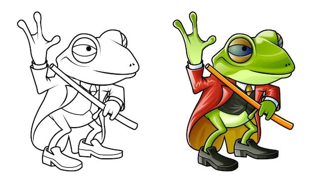 아이들을위한 귀여운 개구리 만화 색칠 공부 페이지 프리미엄 벡터