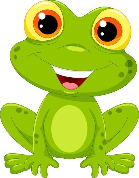 Cute frog cartoon | Premium Vector