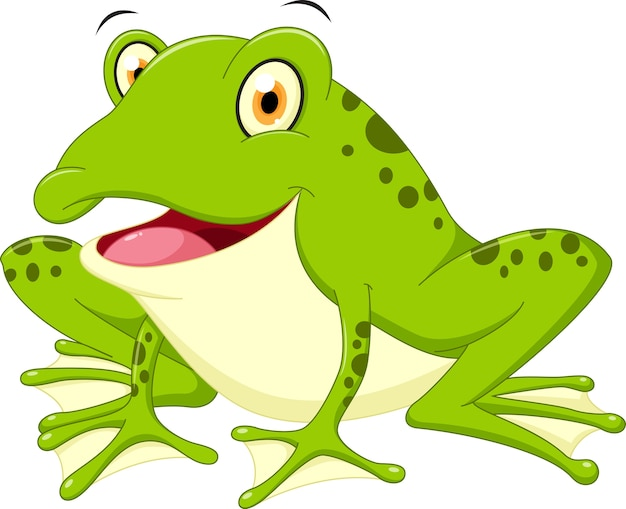 Cute Frog Cartoon Premium Vector