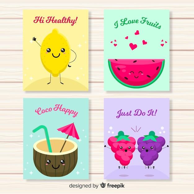 Cute fruit food card set Free Vector