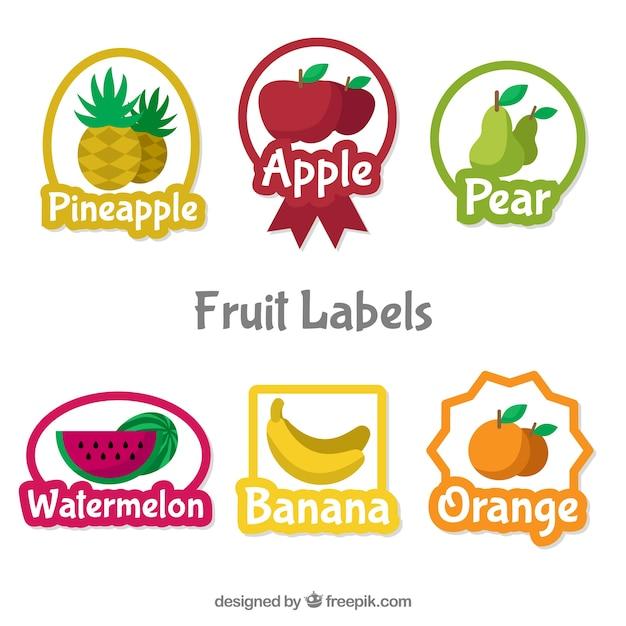 귀여운 과일 라벨 선택 무료 벡터
