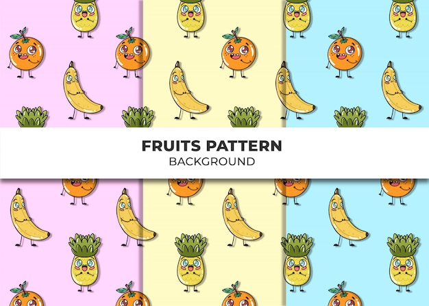 Cute fruits pattern vector Free Vector