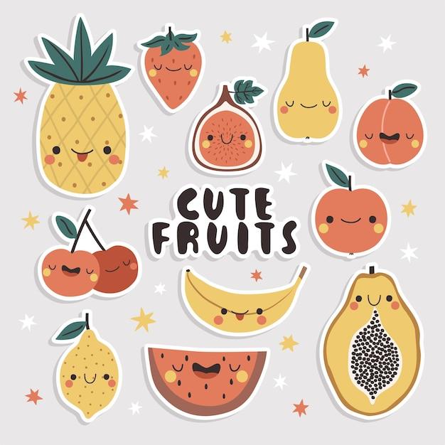 귀여운 과일 스티커 세트. 재미있는 얼굴로 만화 파파야, 망고, 사과, 배, 무화과, 파인애플, 바나나 및 복숭아. 프리미엄 벡터