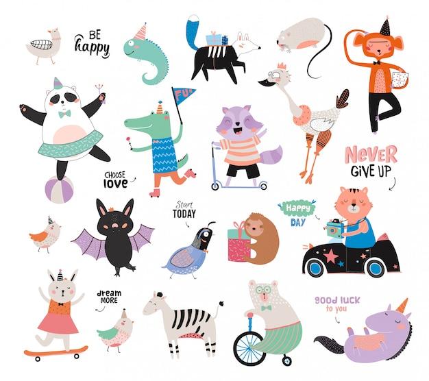 Симпатичные забавные животные и набор мотивированных пожеланий. , белый фон. , подходит для плакатов, наклеек, открыток, алфавита и декора детской комнаты. Premium векторы