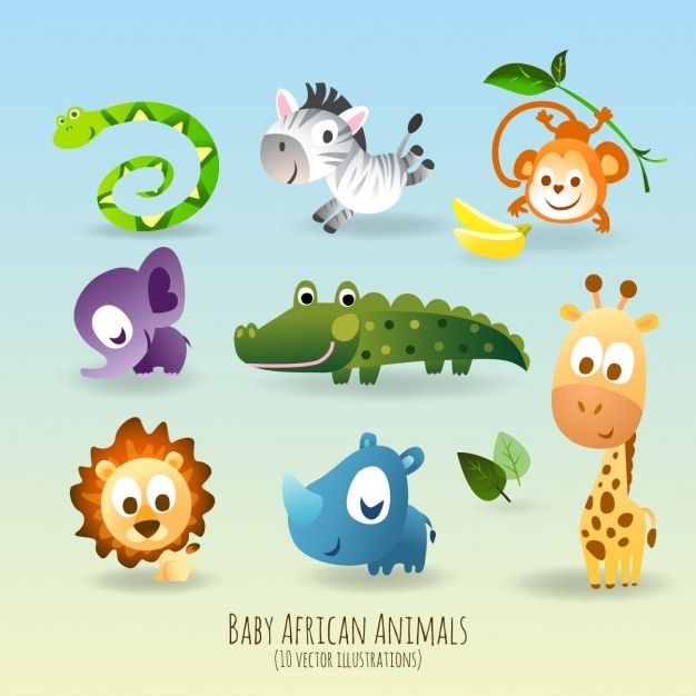 Cute and funny animals Free Vector