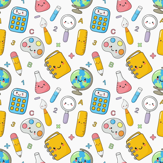 Cute funny back to school seamless pattern. school supplies. education Premium Vector
