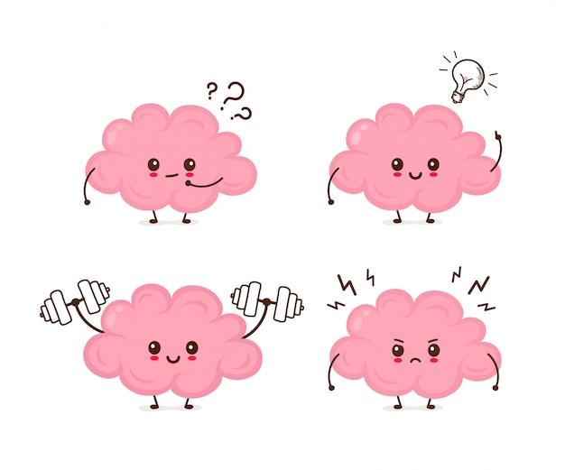 Симпатичные смешные эмоции мозга набор. вектор плоский мультфильм характер иллюстрации значок Premium векторы