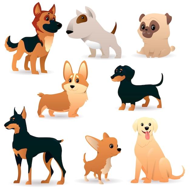 Симпатичные смешные мультяшные собаки Premium векторы