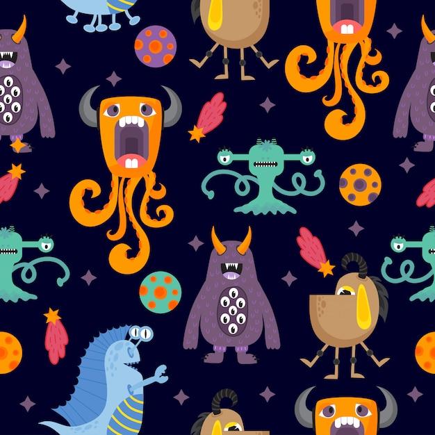Cute funny cartoon monsters seamless pattern Premium Vector