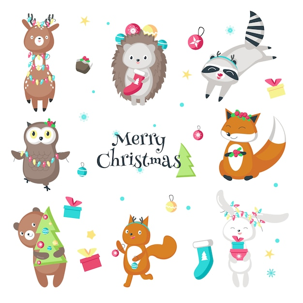 Cute funny christmas animals vector isolated illustration Premium Vector