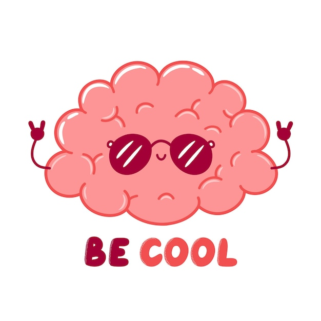 Cute funny cool human brain organ character in sunglasses. flat line cartoon kawaii character illustration icon. isolated on white background. be cool t-shirt,poster print design concept Premium Vector