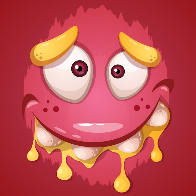 Cute, funny, crazy monster character Premium Vector