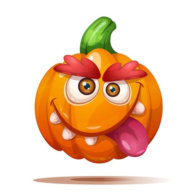 Cute funny crazy pumpkin characters. Premium Vector