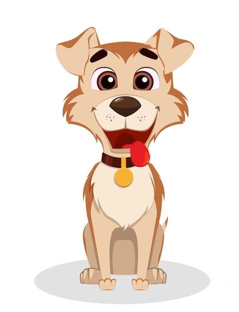 Cute funny dog. puppy cartoon character. Premium Vector