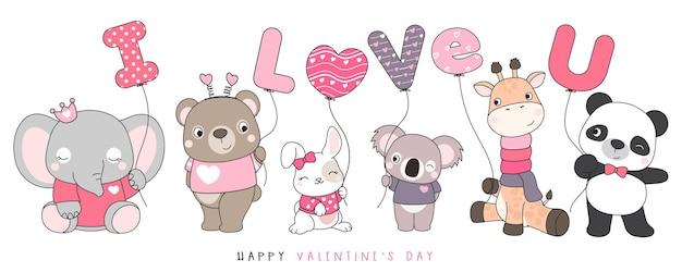 발렌타인 데이 그림을위한 귀여운 재미있는 낙서 동물 프리미엄 벡터