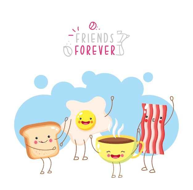 Cute and funny egg coffee bread and bacon smiling Premium Vector