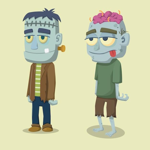 Dessin Halloween Zombie.Premium Vector Cute Funny Faced Cartoon Halloween Zombie And Frankenstein