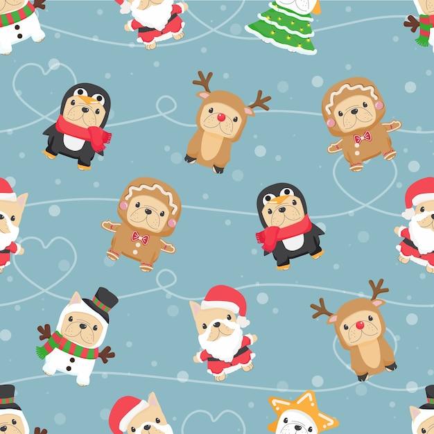 Милый забавный щенок французского бульдога в рождественском костюме бесшовные модели для ткани или бумажной упаковки Premium векторы