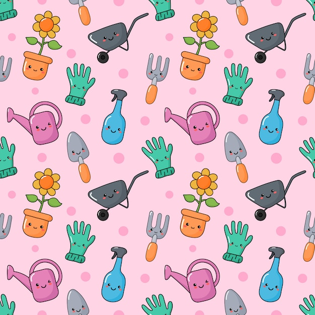 Cute funny garden tools seamless pattern kawaii style Premium Vector