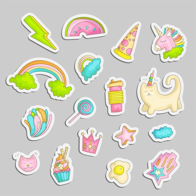 Cute funny girl teenage stickers set, fashion cute teen icons Premium Vector
