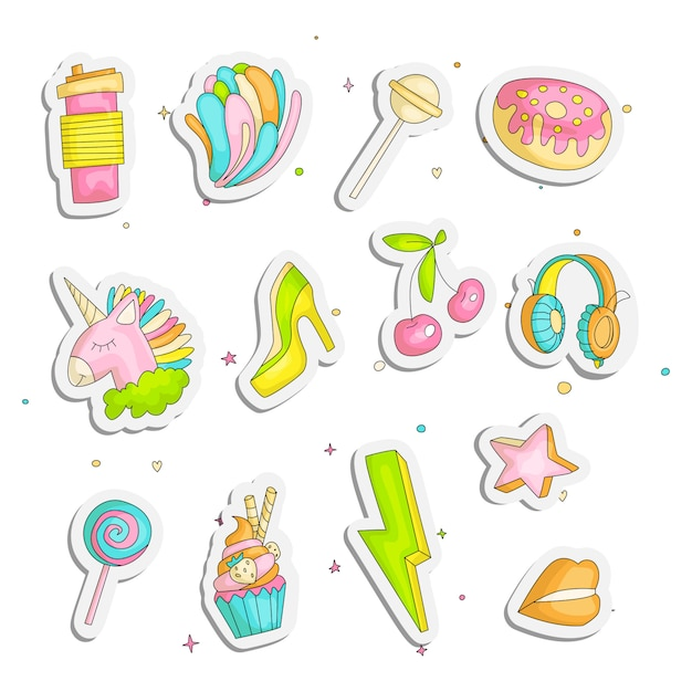 Cute funny girl teenage stickers set, fashion icons Premium Vector