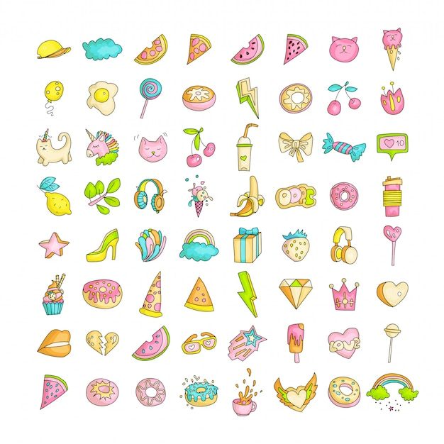 Cute funny girl teenager colored icon set, fashion cute teen and princess icons - pizza, unicorn, cat, lollypop, fruits and other hand draw line teens icon collection. magic fun cute girls objects Premium Vector