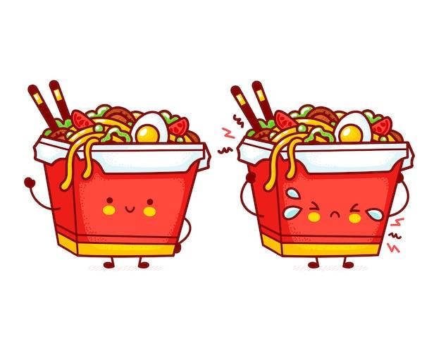 Cute funny happy and sad wok noodle box character Premium Vector