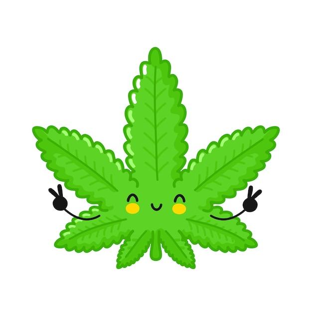 かわいい面白い幸せな雑草マリファナの葉のキャラクター。 Premiumベクター