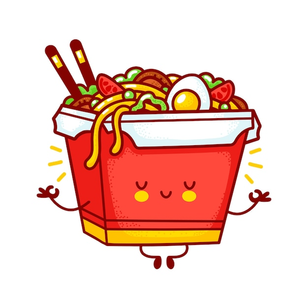 Cute funny happy wok noodle box character meditate. flat line cartoon kawaii character illustration logo icon. isolated on white background. asian food, noodle, wok box character concept Premium Vector