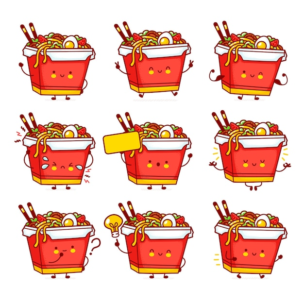 Cute funny happy wok noodle box character set collection. vector flat line cartoon kawaii character illustration icon. isolated.asian food, noodle, wok box character bundle concept Premium Vector