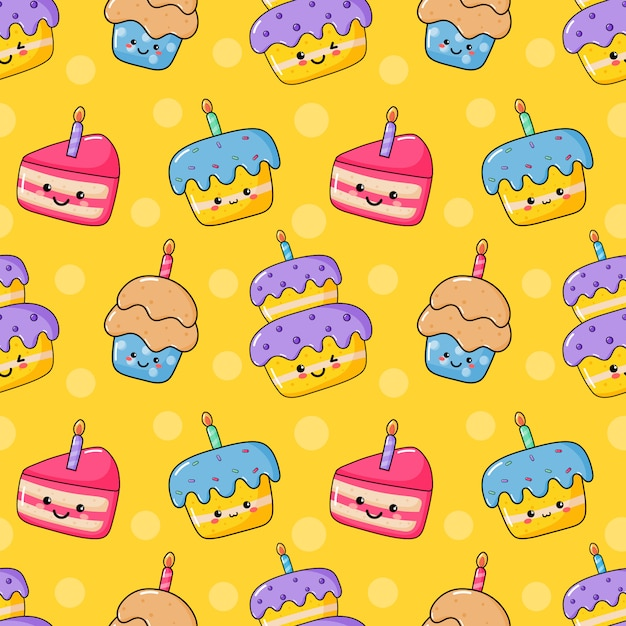 Wondrous Cute Funny Kawaii Birthday Cake Seamless Pattern Food Party Funny Birthday Cards Online Overcheapnameinfo