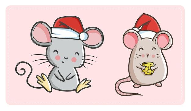 Симпатичные смешные каваи две мыши в шляпе санты на празднование рождества Premium векторы