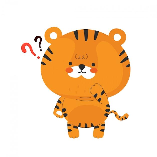 Милый забавный маленький тигренок. дизайн значка иллюстрации персонажа из мультфильма. изолированный Premium векторы