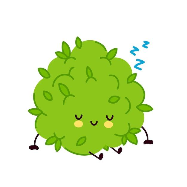 かわいい面白いマリファナ雑草のつぼみのキャラクターの睡眠。 Premiumベクター