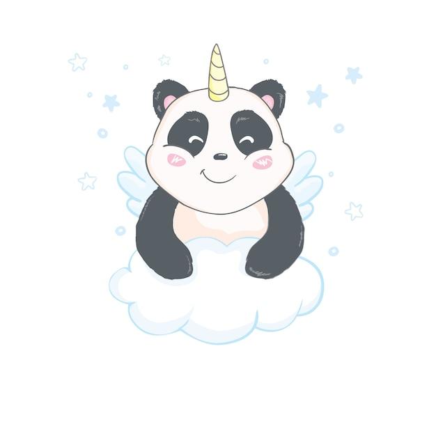 Cute and funny pandacorn sticker template Premium Vector