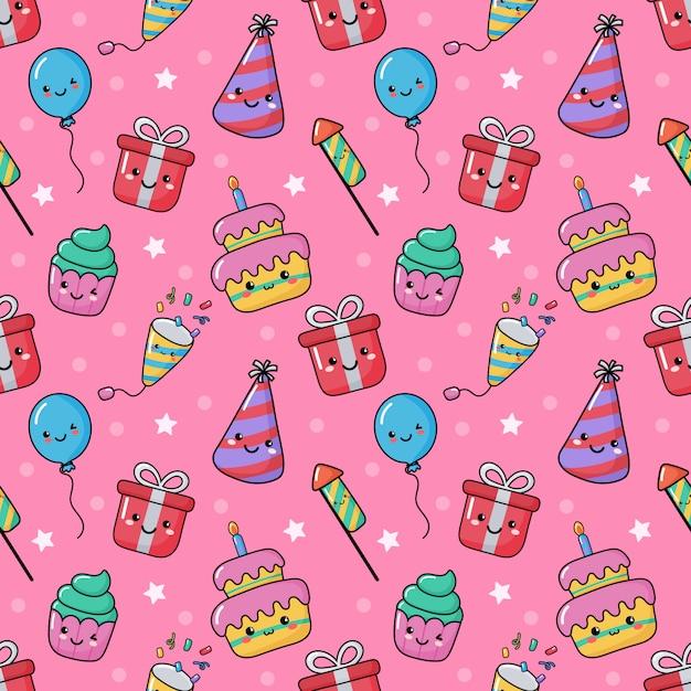 Cute funny party celebration seamless pattern. birthday carnival festive kawaii style Premium Vector