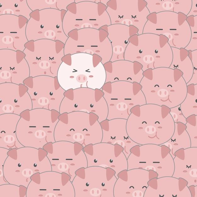 Cute Funny Pig Cartoon Seamless Pattern Wallpaper Vector