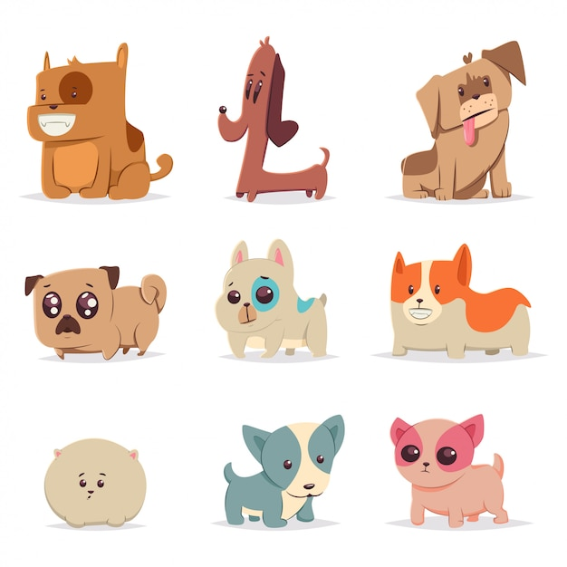 Cute funny puppies set. dog cartoon vector character. home pets illustration isolated Premium Vector