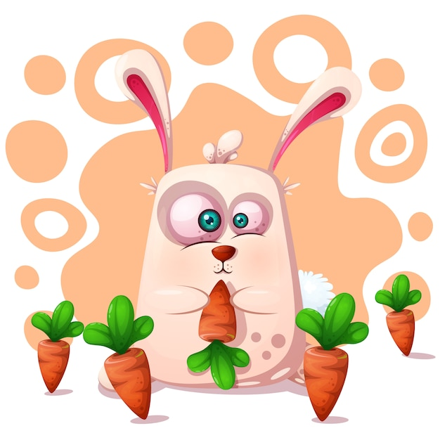 Cute, funny rabbit with carrot Premium Vector