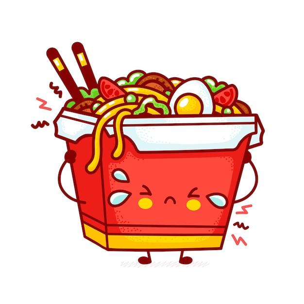 Cute funny sad wok noodle box character Premium Vector